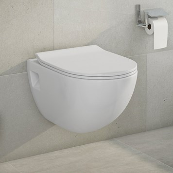 Phoebe Wall Hung Toilet Pan and Luxury Wafer Thin Soft Close Seat