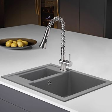 Caple Spiro Single Lever Mono Pull Out Spray Tap - Stainless Steel