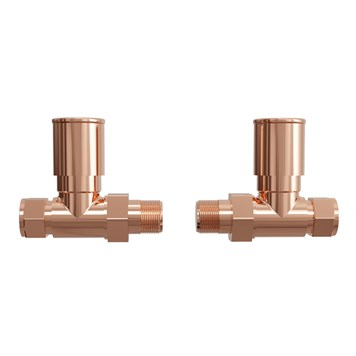 Brenton Straight Round Head Radiator Valves - Rose Gold
