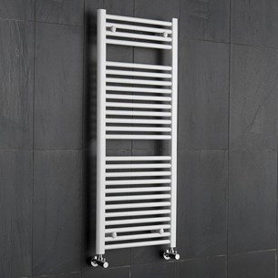 Brenton White Straight Heated Towel Radiator - 19mm - 1200 x 500mm