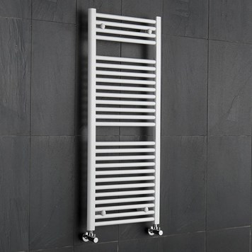 Brenton White Straight Heated Towel Radiator - 19mm - 1000 x 600mm