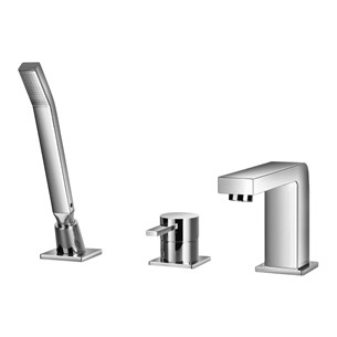 Flova STR8 3 Hole Bath Shower Mixer & Shower Set