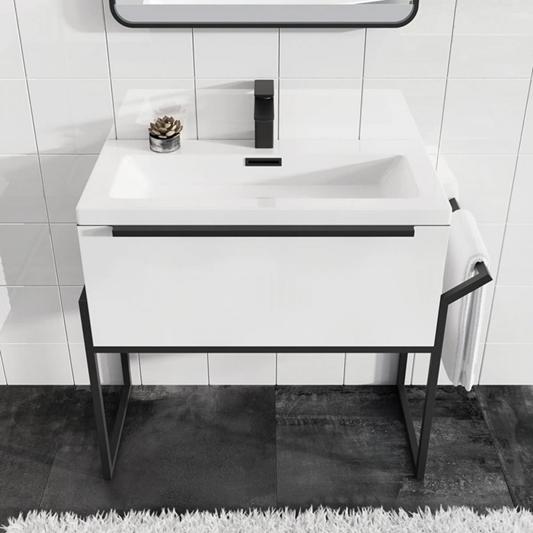 harbour status 800mm wall hung vanity unit basin gloss white with matt black frame