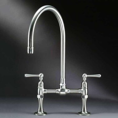 Steam Valve Deck Mounted Lever Bridge Sink Mixer with Swivel Spout