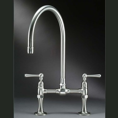 Steam Valve Deck Mounted Lever Bridge Sink Mixer with Swivel Spout - Brushed Stainless Steel