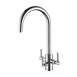 Clearwater Stella Triple Lever Mono Kitchen Mixer and Cold Filtered Water Tap - Brushed Nickel