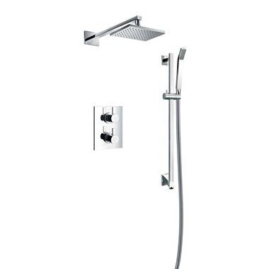 Flova STR8 Concealed Thermostatic Mixer Valve with Overhead Shower & Slide Rail Kit