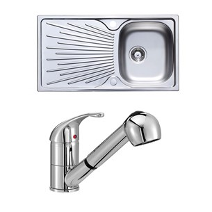 Astracast Sunrise 1 Bowl Stainless Steel Sink & Vellamo Echo Pull Out Spray Kitchen Mixer Tap