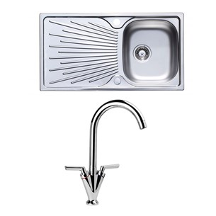 Astracast Sunrise 1 Bowl Stainless Steel Sink & Vellamo Twist Kitchen Sink Mixer Tap