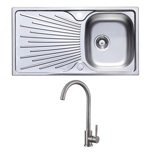 Astracast Sunrise 1 Bowl Stainless Steel Sink & Drainer and Mayfair Logic Mono Kitchen Mixer - Stainless Steel