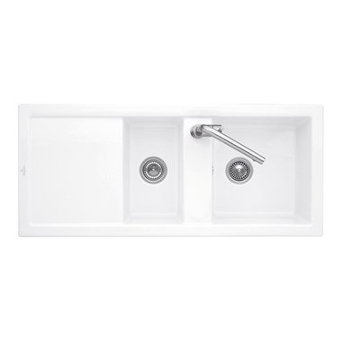 Villeroy & Boch Subway 80 1.5 Bowl White Alpin Ceramic Sink with Plumbing Kit