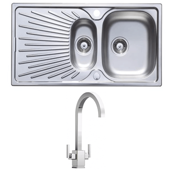 Astracast Sunrise 1.5 Bowl Stainless Steel Sink with Waste Kit & Rangemaster Quadrant Brushed Nickel Mono Kitchen Tap