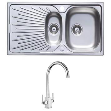 Astracast Sunrise 1.5 Bowl Stainless Steel Sink with Waste Kit & Rangemaster Vertex Chrome Mono Kitchen Tap