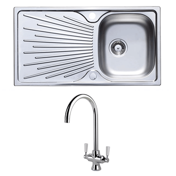 Astracast Sunrise 1 Bowl Stainless Steel Sink with Waste Kit & Rangemaster Aquaclassic Spa Filtered Water Brushed Nickel Kitchen Tap
