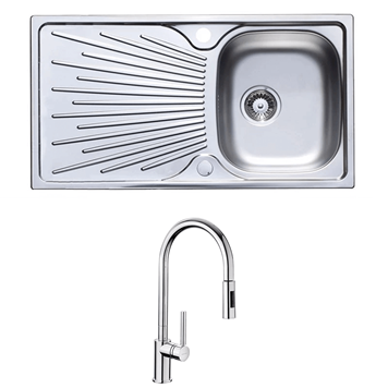 Astracast Sunrise 1 Bowl Stainless Steel Sink with Waste Kit & Rangemaster Bari Polished Chrome Single Lever Pull Out Kitchen Tap
