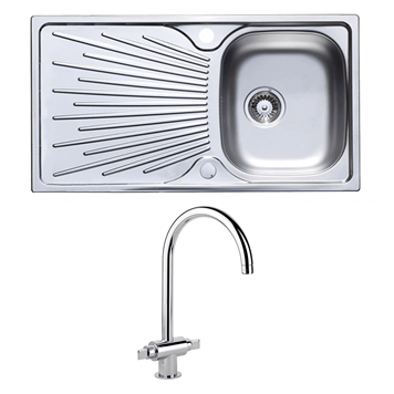 Astracast Sunrise 1 Bowl Stainless Steel Sink with Waste Kit & Rangemaster Monoglide Designer Mono Kitchen Tap