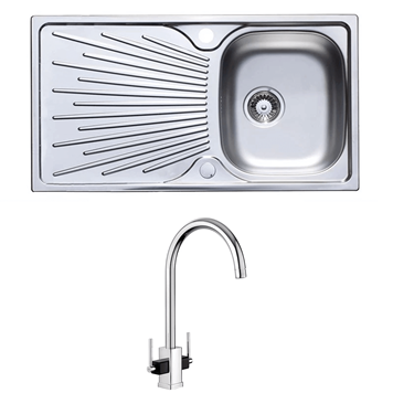 Astracast Sunrise 1 Bowl Stainless Steel Sink with Waste Kit & Rangemaster Vertex Chrome & Black Mono Kitchen Tap