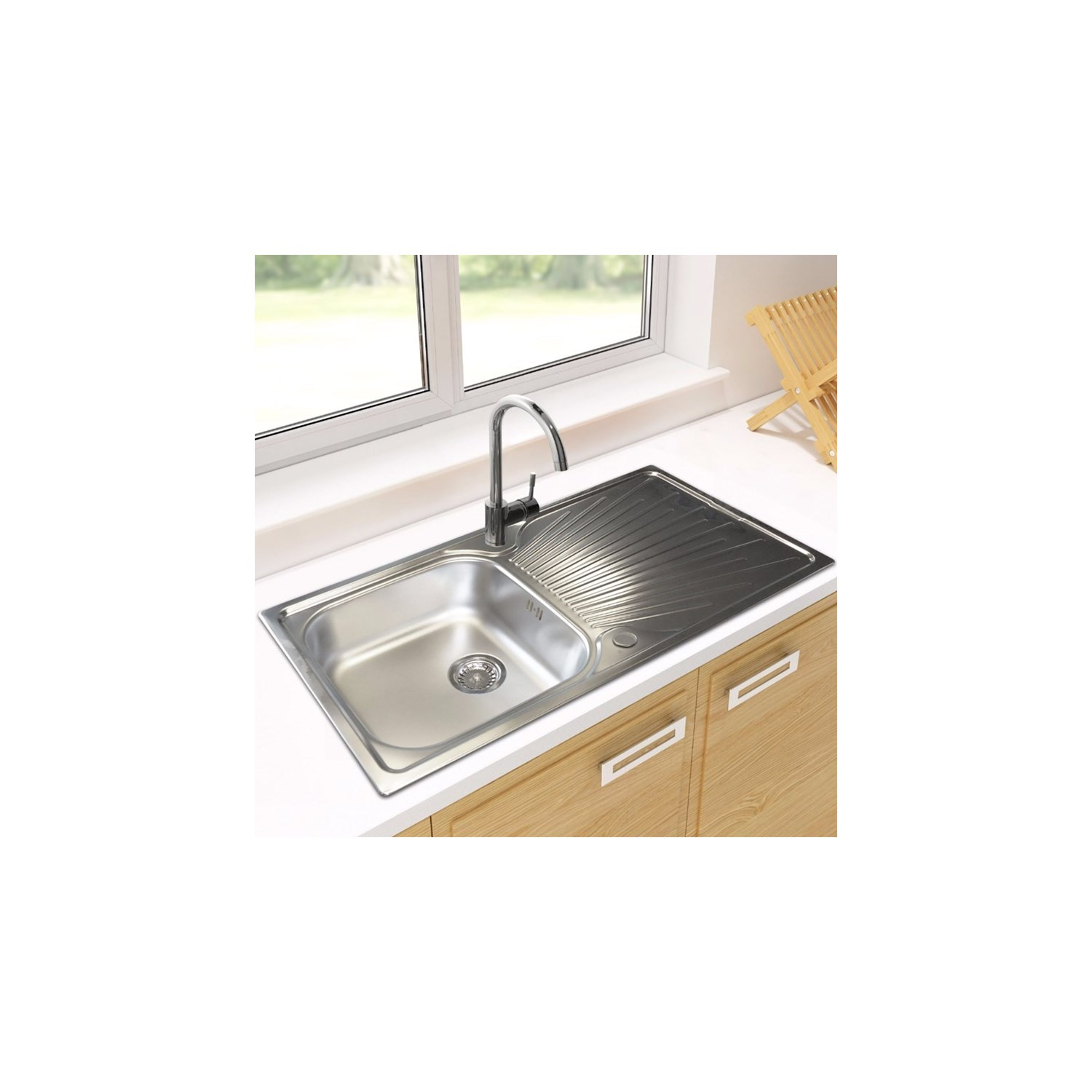 Astracast sunrise 1 bowl polished stainless steel sink with reversible drainer 965 x 500mm tap warehouse