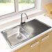 Astracast Sunrise 1 Bowl Stainless Steel Sink with Waste Kit & Rangemaster Vertex Brushed Nickel Mono Kitchen Tap