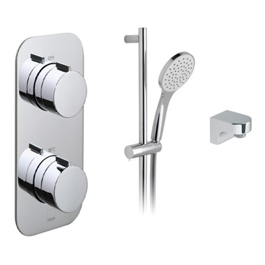 Vado Tablet Altitude Horizontal Concealed 1 Outlet 2 Handle Thermostatic Shower Valve With Single Function Air-injection Slide Rail Shower Kit