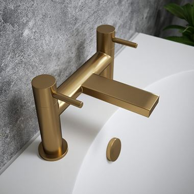 The Tap Factory Vibrance Brushed Brass Deck Mounted Bath Filler - 6 Handle Colours Available