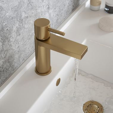 The Tap Factory Vibrance Brushed Brass Mono Basin Mixer and Basin Waste - 6 Handle Colours Available