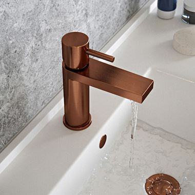 The Tap Factory Vibrance Brushed Copper Mono Basin Mixer and Basin Waste - 6 Handle Colours Available