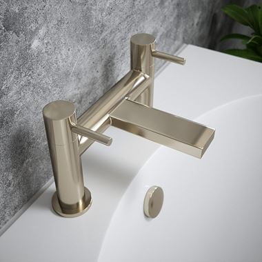 The Tap Factory Vibrance Brushed Nickel Deck Mounted Bath Filler - 6 Handle Colours Available