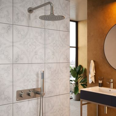The Tap Factory Vibrance Brushed Nickel WRAS Approved Concealed Thermostatic Shower Valve with Fixed Shower Head and Shower Handset