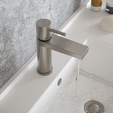 The Tap Factory Vibrance Brushed Nickel Mono Basin Mixer and Basin Waste - 6 Handle Colours Available