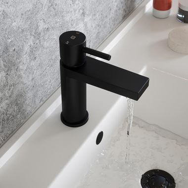 The Tap Factory Vibrance Vanto Black Mono Basin Mixer and Basin Waste - 8 Handle Colours Available