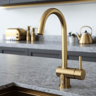 The Tap Factory Vibrance 1 Brushed Brass Single Lever Mono Kitchen Mixer with Coloured Handle