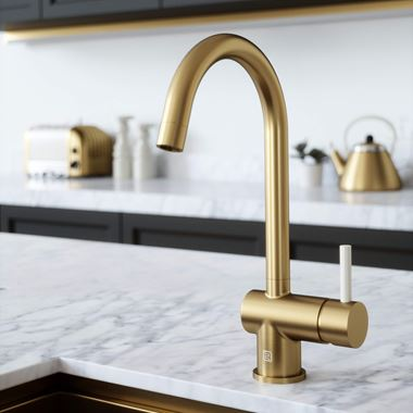 The Tap Factory Vibrance 1 Brushed Brass Single Lever Mono Kitchen Mixer with Ivory Handle