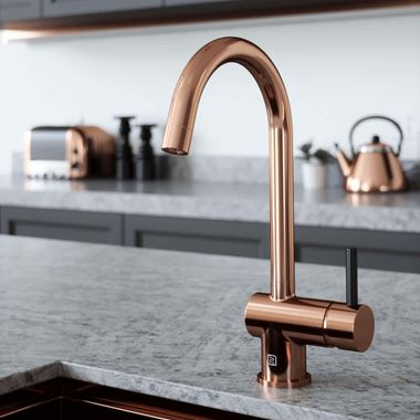 The Tap Factory Vibrance 1 Copper Single Lever Mono Kitchen Mixer with Black Handle