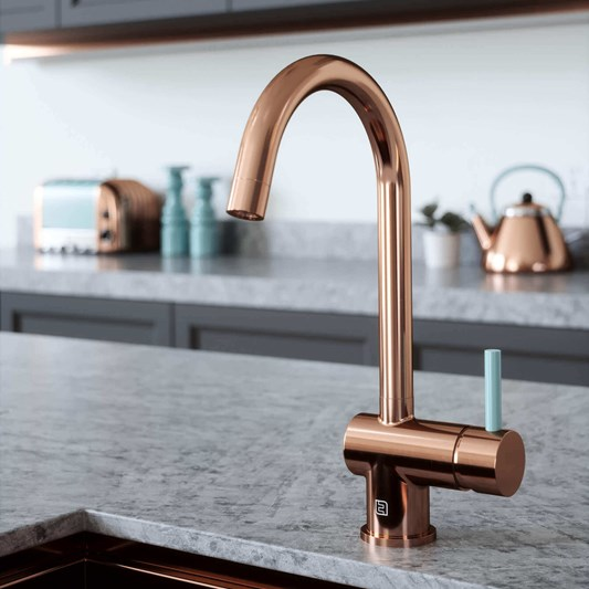 The Tap Factory Vibrance 1 Copper Single Lever Mono Kitchen Mixer with Coloured Handles
