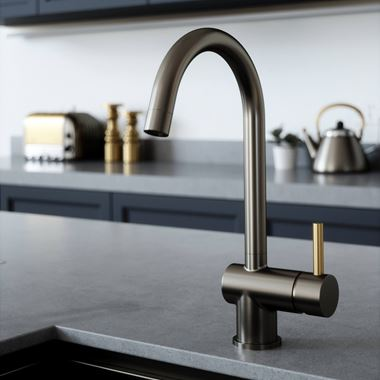 The Tap Factory Vibrance 1 Gunmetal Single Lever Mono Kitchen Mixer with Brushed Brass Handle