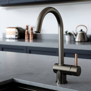 The Tap Factory Vibrance 1 Gunmetal Single Lever Mono Kitchen Mixer with Copper Handle