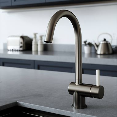 The Tap Factory Vibrance 1 Gunmetal Single Lever Mono Kitchen Mixer with Ivory Handle