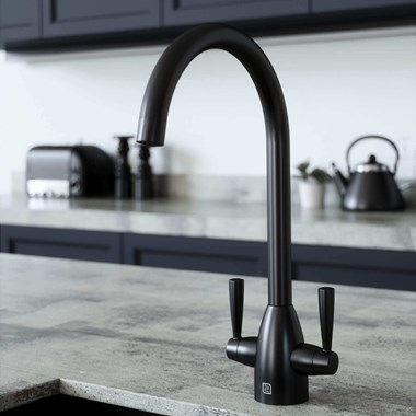The Tap Factory Vibrance 2 Matt Black Twin Lever Mono Kitchen Mixer with Coloured Handles