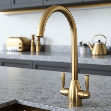 The Tap Factory Vibrance 2 Brushed Brass Twin Lever Mono Kitchen Mixer with Coloured Handles