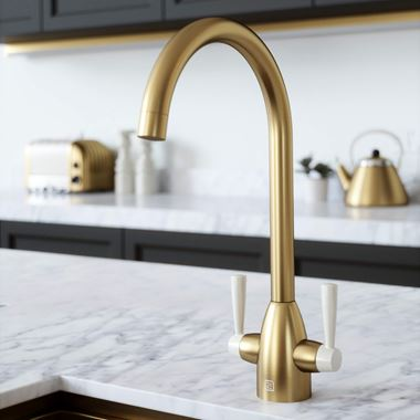 The Tap Factory Vibrance 2 Brushed Brass Twin Lever Mono Kitchen Mixer with Ivory Handles