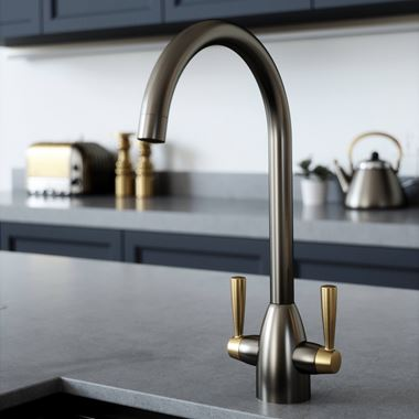 The Tap Factory Vibrance 2 Gunmetal Twin Lever Mono Kitchen Mixer with Brushed Brass Handles