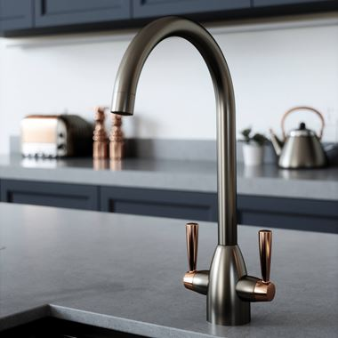 The Tap Factory Vibrance 2 Gunmetal Twin Lever Mono Kitchen Mixer with Copper Handles