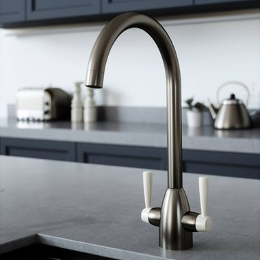 The Tap Factory Vibrance 2 Gunmetal Twin Lever Mono Kitchen Mixer with Ivory Handles