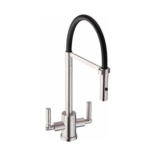 Abode Atlas Professional Twin Lever Mono Pull Out Kitchen Tap - Brushed Nickel & Black