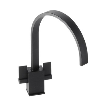 Abode Atik Twin Lever Mono Kitchen Mixer - Granite Black