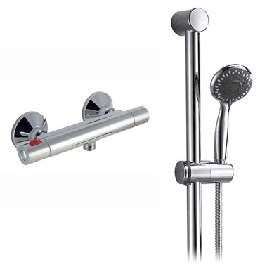 Vellamo Cooltouch Minimalist Thermostatic Bar Valve & Vellamo Round Shower Riser Rail Kit