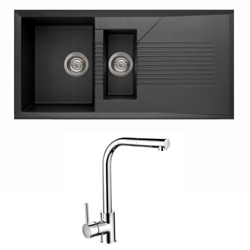 Reginox Tekno 1.5 Bowl Black Granite Composite Sink & Waste Kit and Vellamo Savu Mono Pull Out Kitchen Mixer