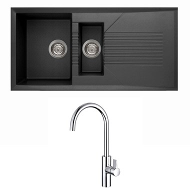 Reginox Tekno 1.5 Bowl Black Granite Composite Sink & Waste Kit and Vellamo Andaman Mono Kitchen Mixer