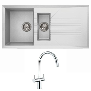 Reginox Tekno 1.5 Bowl White Granite Composite Sink & Waste Kit and Vellamo Caspian Mono Kitchen Mixer
